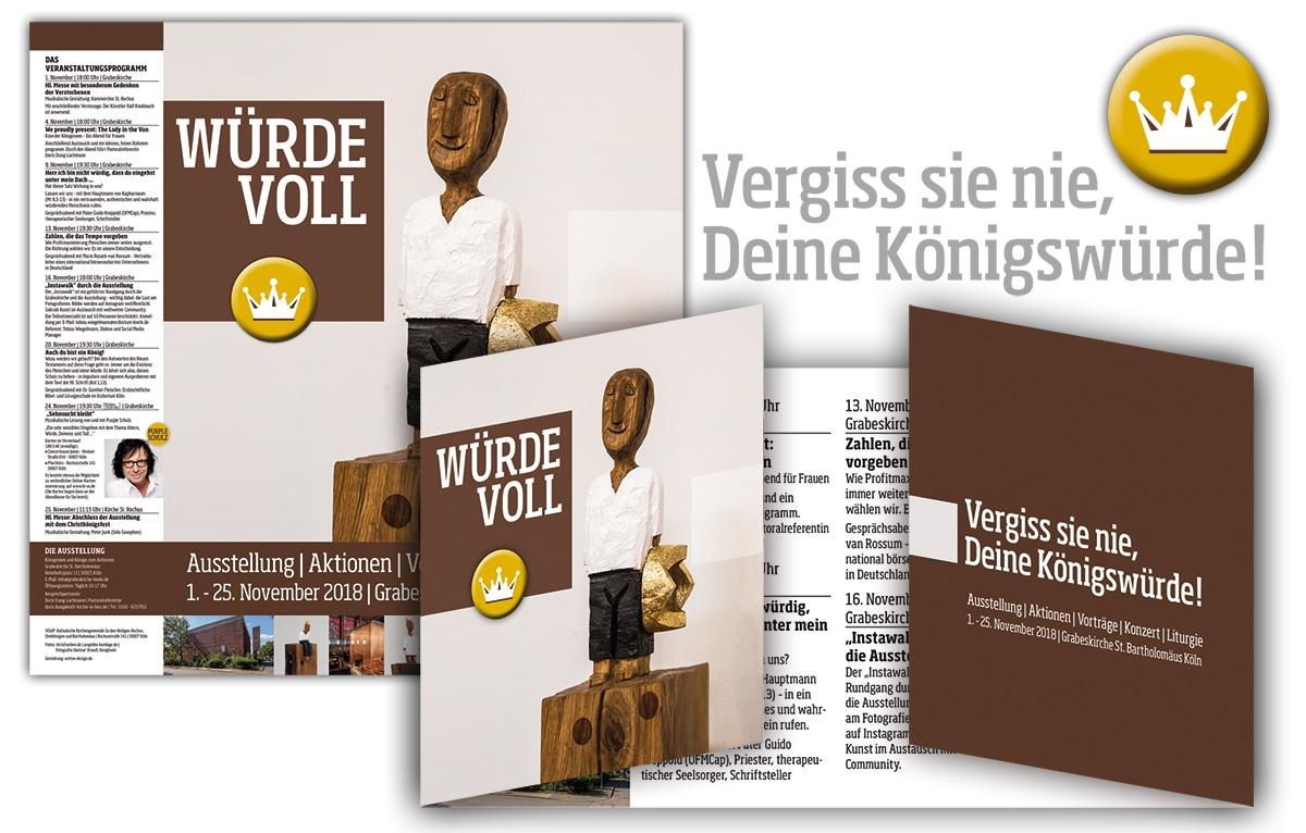 Ausstellung Würdevoll in St Rochus Flyer, Button und Plakat