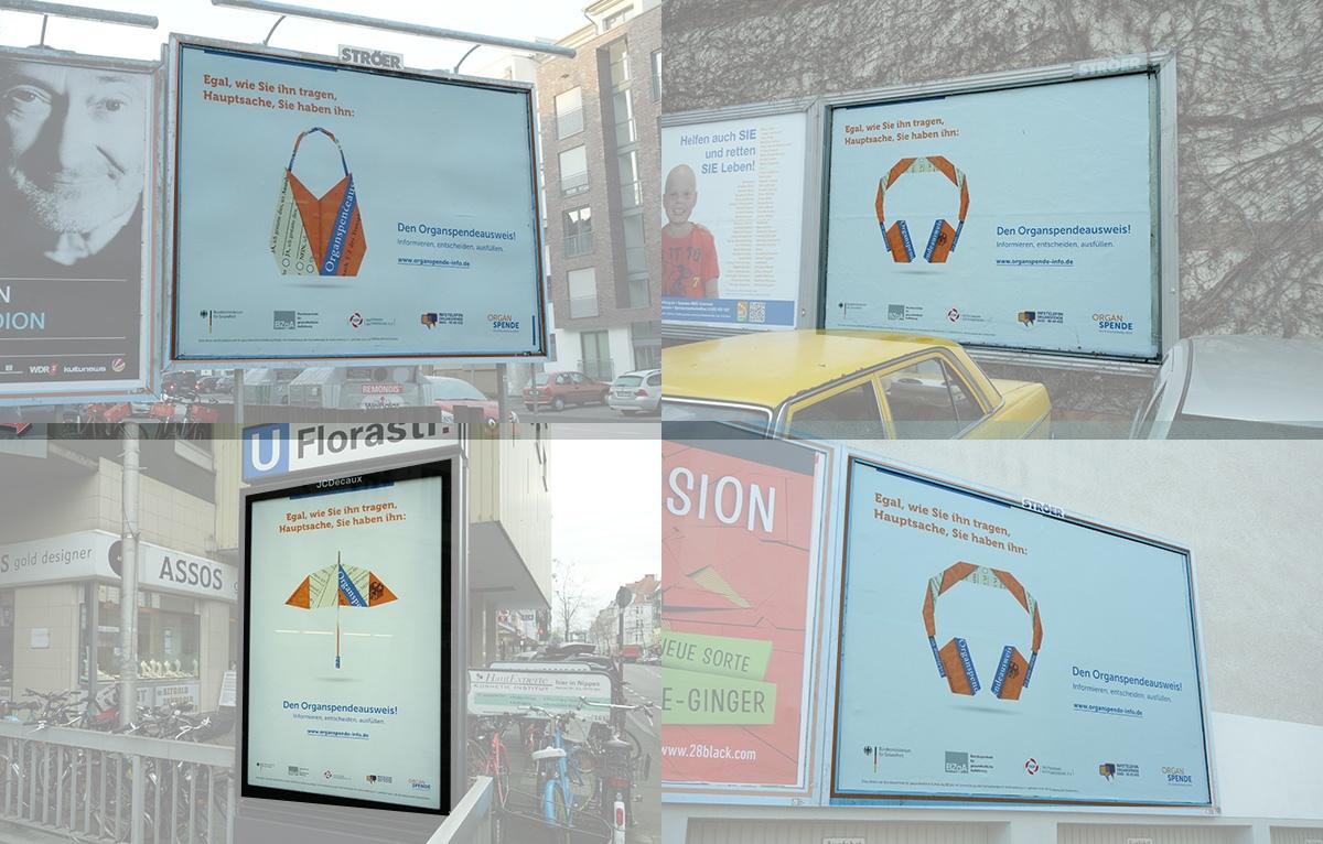 Plakate, die für Organspende werben